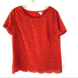J Crew orange lace shirt